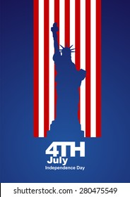 4th July Statue of Liberty US flag blue background