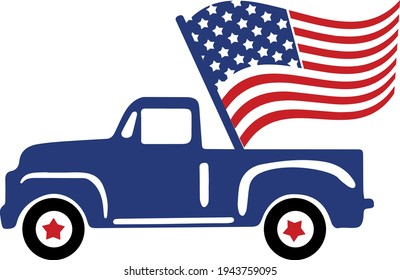4th of July Svg vector Illustration isolated on white background. Independence day party decor. 4th of July truck with stars and stripes. Vintage truck Independence day for scrapbooking, card, shirt.