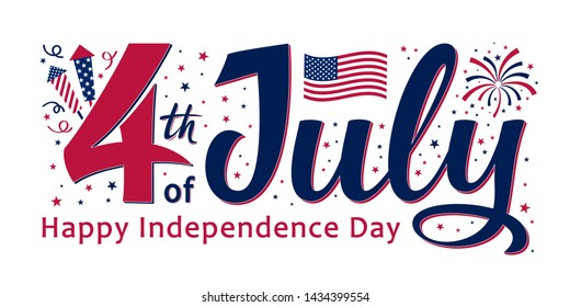 4th of July, United Stated independence day. Template design for poster, banner, postcard, flyer, greeting card. American national day. Vector illustration with stars, fireworks, petards and USA flag.