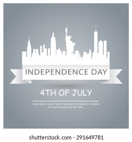 4th of July United States of America Ribbon banner - Statue of Liberty - New York city silhouette - USA Independence day poster - Abstract Gray background