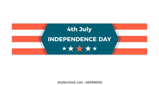 4th of July, United states of America Independence Day holiday celebration banner. Vector editable design isolated for easy usage.