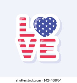 4th of July, United States Independence Day related symbol. Love Icon. Stars and Stripes. Flat design sign isolated on background