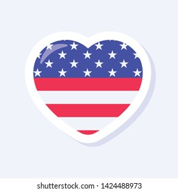 4th of July, United States Independence Day related symbol. Heart Icon. Stars and Stripes. Flat design sign isolated on background