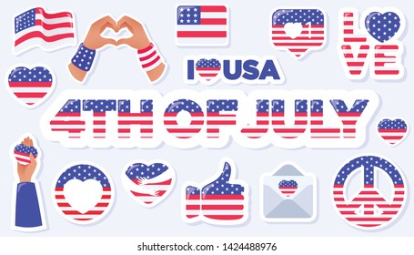4th of July, United States Independence Day related symbols set. US Flag, Heart, Peace, Thumbs Up, Love Symbols. Stars and Stripes. Flat design signs isolated on background