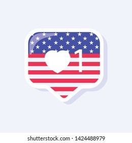 4th of July, United States Independence Day related symbol. Like Icon. Stars and Stripes. Flat design sign isolated on background