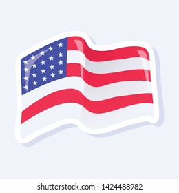 4th of July, United States Independence Day related symbol. US Flag Icon. Stars and Stripes. Flat design sign isolated on background