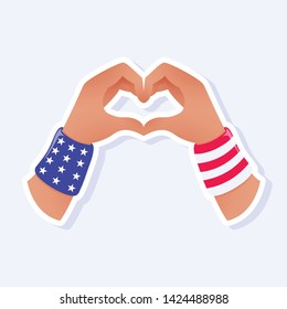 4th of July, United States Independence Day related symbols. Hands Heart Icon. Stars and Stripes. Flat design sign isolated on background