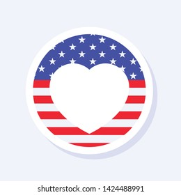 4th of July, United States Independence Day related symbol. Hear Symbol. Stars and Stripes. Flat design sign isolated on background