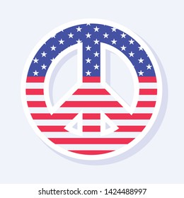 4th of July, United States Independence Day related symbol. Peace Sign. Stars and Stripes. Flat design signs isolated on background