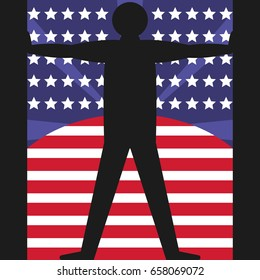 4th Of July. United States independence day. Silhouette human figure on the background the American flag USA. Abstract graphic vector illustration in flat style.