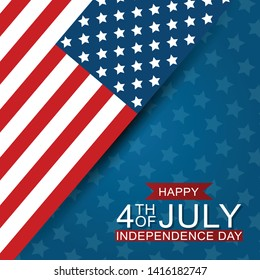 4th of July United States national Independence Day celebration background with American flag. Vector illustration.
