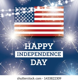 4th of July United States National Independence Day. Vector Illustration. Celebration Background with American Flag.