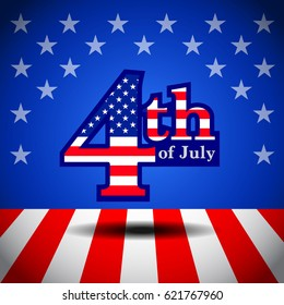 4th of july ,USA flag banner, layout template design, vector illustration, abstract background.
