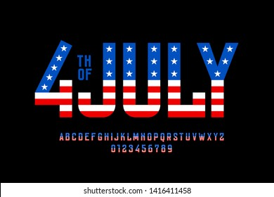 4th of July USA flag style font design, alphabet letters and numbers vector illustration
