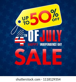 4th Of July USA, Independence Day Sale promotion banner. Fourth of july sale flyer, Discount special offer up to 50% off on yellow label. Online store, Sale vector background