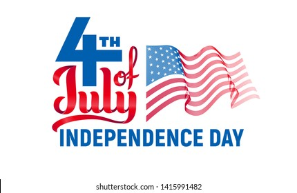4th of July. USA Independence day. Red and blue vector lettering