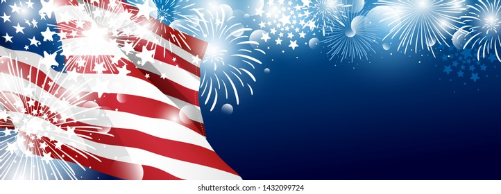 4th of july USA Independence day banner background design of American flag with fireworks vector illustration