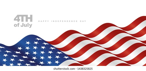 4th July USA Independence Day waving flag blue red white background banner