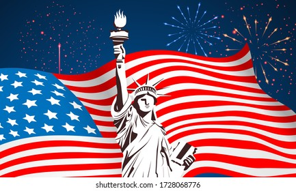 4th of July USA Independence Day Vector Background With liberty of statue, American Flag and Fire Works for banner, poster, advertisement, promotion, brochure, discount, sale