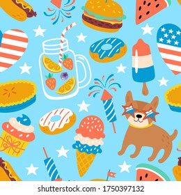4th of July USA Independence day cute seamless pattern design. Childish print for cards, backgrounds and party invitations. Vector illustration