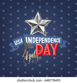 4th july USA independence day greeting card, banner design, vector illustration