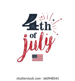 4th of July. USA Independence Day. 4th of July typography illustration. Vintage design