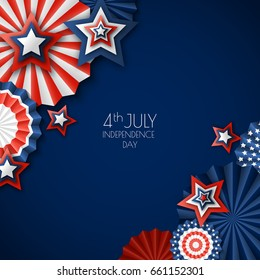 4th of July, USA Independence Day. Vector paper stars in USA flag colors. Blue background with place for text. Material design concept for greeting card, banner layout, flyer, poster.