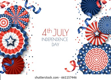4th of July, USA Independence Day vector banner template.. White background with paper stars in USA flag colors. Material design for greeting card, flyer layout, poster.