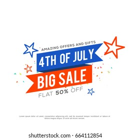 4th Of July USA Independence Day Sale Promotion Background,Poster,Banner,social Media,Marketing Template Design.