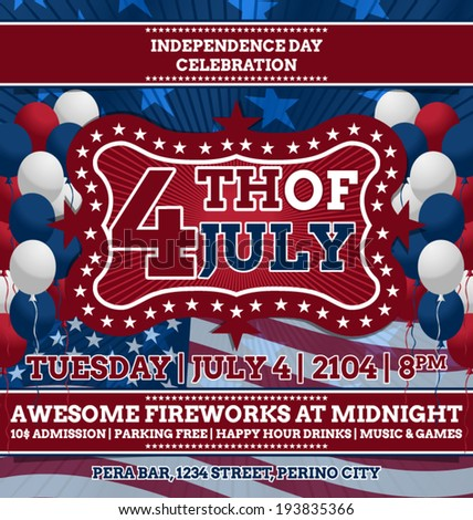 4th July Vector Design Template Inspired Stock Vector Royalty Free