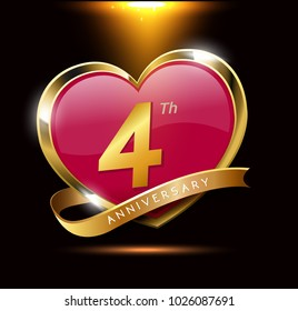 4th love anniversary with shiny gold on black background. heart shape with ribbon