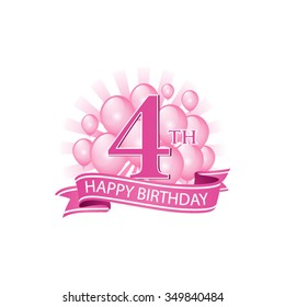 21st pink happy birthday logo balloons stock vector royalty free