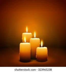 4th Sunday of Advent - Fourth Candle with Warm Atmosphere - Candlelight Christmas Card Template - Candlelight Dinner