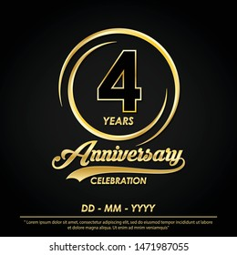 4th years anniversary celebration emblem. anniversary logo with elegance of golden ring on black background, vector illustration template design for celebration greeting card and invitation card