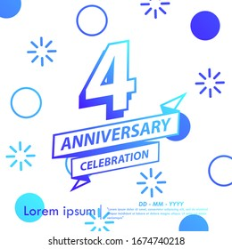 4th years anniversary celebration emblem. blue gradient anniversary logo with ribbon on memphis style background, vector illustration template design for web, flyers, greeting card & invitation card