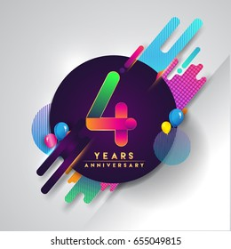 4th years Anniversary logo with colorful abstract background, vector design template elements for invitation card and poster four years birthday celebration