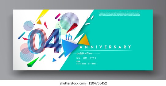 4th years anniversary logo, vector design birthday celebration with colorful geometric background and circles shape.