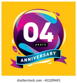 4th years greeting card anniversary with colorful number and frame. logo and icon with circle badge and background