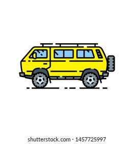 4WD van line icon. Offroad microbus symbol. Yellow all-terrain 4x4 minibus motor vehicle sign. Vector illustration.