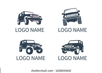 4x4 extreme community emblem. Off-road car jeep vehicle logo icon sign design for adventure travel agency or club.