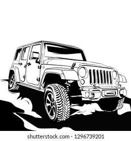 4x4 off road line art