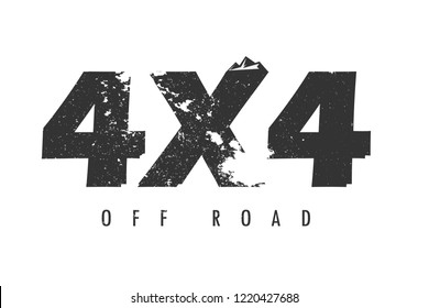 4x4 off road logo with mountain