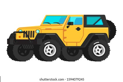 4x4 off roaf adventure, trailering, camping, outdoor recreation, adventures in nature. Off road yellow car SUV icon flat, car travel summer vacation, tourist design elements isometric, shadow on the b