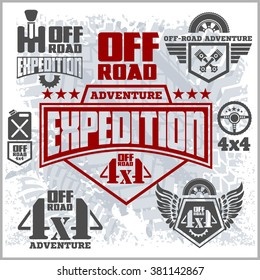 4x4 Off-road suv car emblems, badges and icons. Off-roading suv adventure and car club elements.