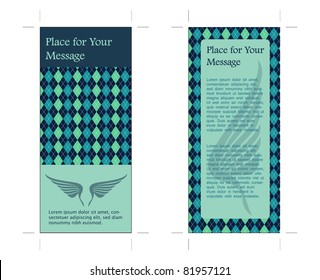 4x9, Two Sided rack Card with Wings, Vector in Blue colors