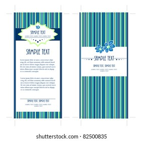 4x9 Two Sided Rack Card with Blue colored background, Vector, easy to edit text