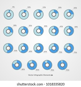 5 10 15 20 25 30 35 40 45 50 55 60 65 70 75 80 85 90 95 percent pie chart symbols. Percentage vector infographics. Isolated circle icons. Illustration for business, finance, design