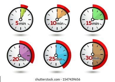 5, 10, 15, 20, 25, 30 Minutes Analog Clock Icons. Vector Time Symbol