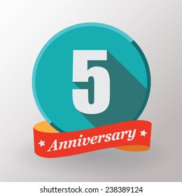 5 Anniversary   label with ribbon. Flat design.