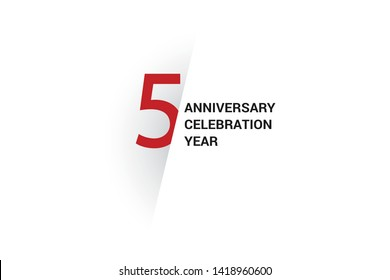 5 anniversary, minimalist logo. 5th jubilee, greeting card. Birthday invitation. 5 year sign. Red space vector illustration on white background - Vector
